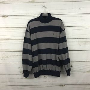 Polo by Ralph Lauren Navy Gray Striped Sweater